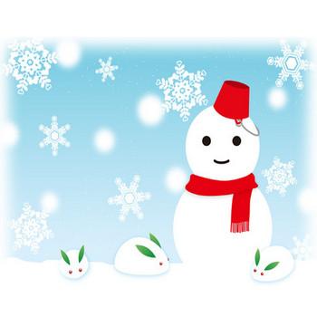 雪だるまと雪うさぎ - 素材【イラスト】 - 彩クリWEB