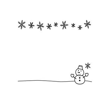 冬・雪だるまの上下フレーム・枠の白黒イラスト03   かわいい無料の白黒イラスト モノぽっと