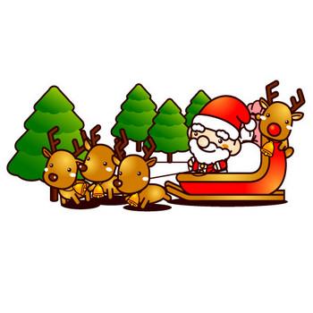 クリスマスの無料イラスト(トナカイのそりに乗るサンタクロース)|フリー素材|素材のプチッチ