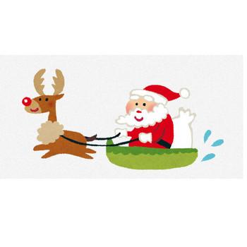 クリスマスのイラスト「ソリに乗ったサンタとトナカイ」 | かわいいフリー素材集 いらすとや
