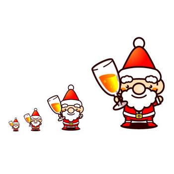 サンタさん乾杯のイラスト|フリー素材|素材のプチッチ
