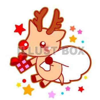 無料イラスト クリスマス・真っ赤なお鼻のトナカイさんのイラスト
