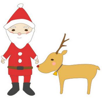 サンタクロースとトナカイのかわいいイラスト <無料> | イラストK