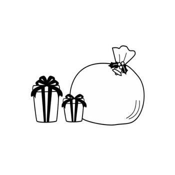 クリスマスプレゼントの白黒イラスト   かわいい無料の白黒イラスト モノぽっと