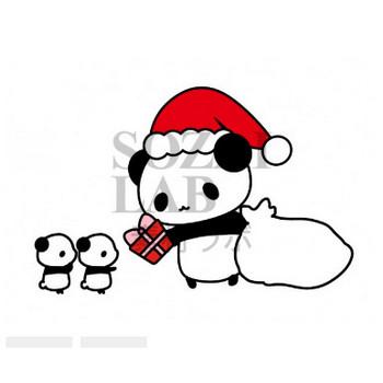 パンダのサンタさんがクリスマスプレゼント   無料イラスト素材 素材ラボ