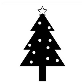 クリスマスツリーの白黒イラスト <無料> | イラストK