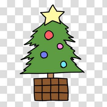 ゆるいクリスマスツリーのフリーイラスト素材