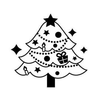 クリスマスツリーの白黒イラスト03 | かわいい無料の白黒イラスト モノぽっと
