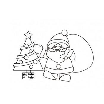 サンタクロースとクリスマスツリーのぬりえ素材 | イラスト無料・かわいいテンプレート