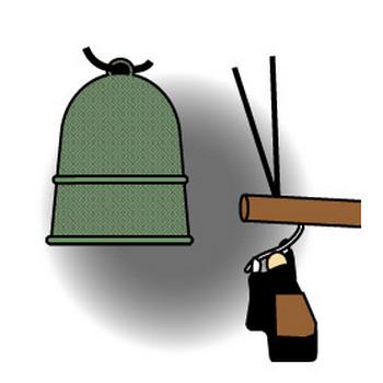 大晦日に坊さんが除夜の鐘をつくのフリー素材 大サイズ