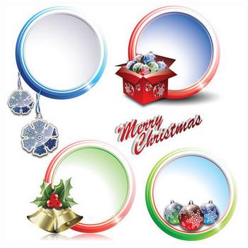 クリスマス飾りのイラストとフレーム 2 sets of christmas vector - Free Art Jimdo