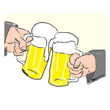 乾杯(忘年会・新年会)のイラスト:手書きPOPやイラストの無料素材:So-netブログ