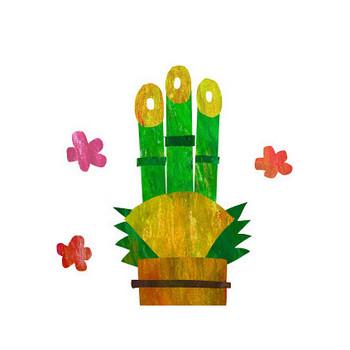 門松のコラージュイラスト年賀状 | かわいい無料年賀状テンプレート ねんがや