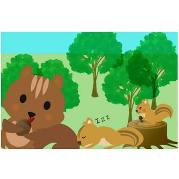 りすイラスト - 木の実を持った可愛い森の動物無料素材 - チコデザ