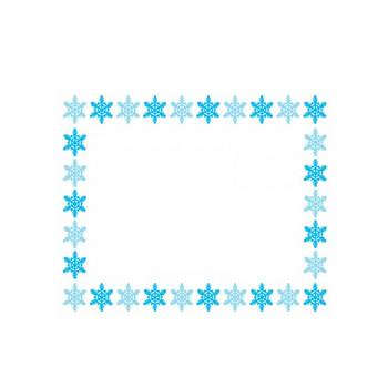 雪の結晶の囲み枠のフレームイラスト | 無料イラスト かわいいフリー素材集 フレームぽけっと