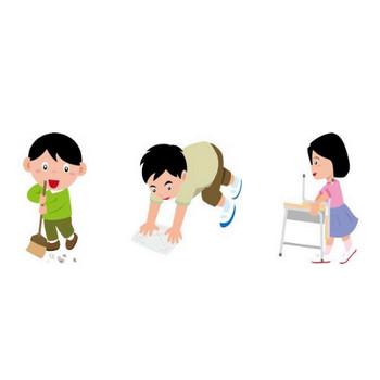 イラストポップ 学校のイラスト | 掃き掃除、雑巾がけ、ゴミだしなど掃除のイラスト