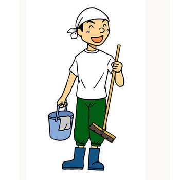 年末の大掃除に励む男性イラスト | 無料イラスト配布サイトマンガトップ