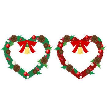 クリスマスリースのイラスト素材 赤と緑 : ハートの素材屋