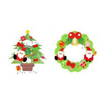 サンタとクリスマスツリー&クリスマスリースのイラスト