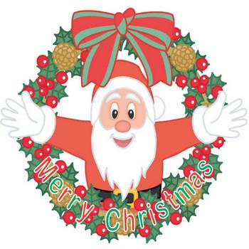 [無料イラスト] クリスマスリースとサンタクロース - パブリックドメインQ:著作権フリー画像素材集