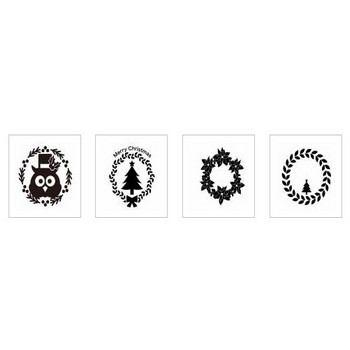 クリスマスリース|シルエット イラストの無料ダウンロードサイト「シルエットAC」