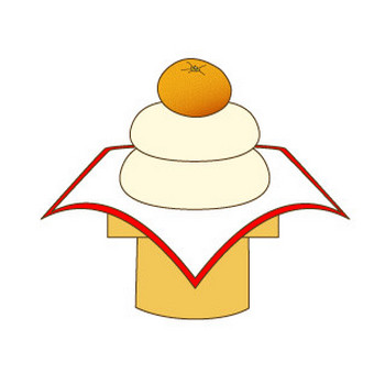幼稚園児のイラスト・絵カード:鏡餅のイラスト