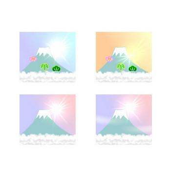 お正月フリー素材(イラスト・アイコン)初日の出・追い羽根・コマ・凧・門松・羽子板
