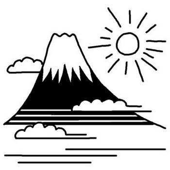 初日の出/お正月/1月の行事/冬の季節/無料【白黒イラスト素材】