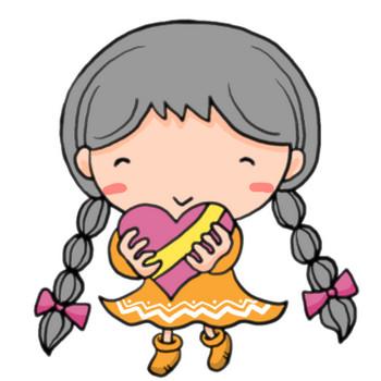 バレンタインデイ!にっこり笑ってチョコレートを渡す三つ編みおさげの女の子|かわいい無料イラスト素材(商用利用可)