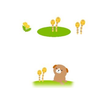 つくし・たんぽぽ・チューリップ 春のイラスト/フリー素材 無料イラスト
