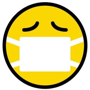 マスクをしたニコちゃんマーク(風邪・病気の絵文字) | 無料フリーイラスト素材集【Frame illust】