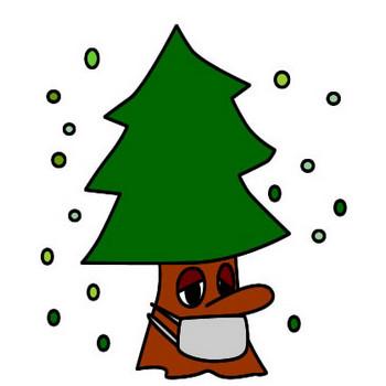 風邪をひく杉の木のイラスト|フリーイラスト素材 変な絵.net