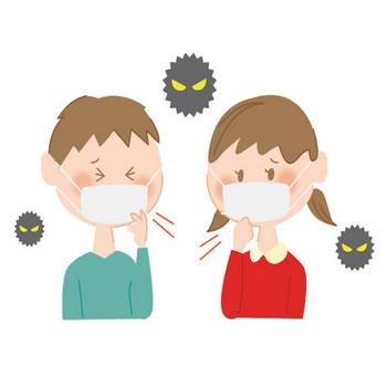 [無料イラスト] ウイルスと風邪を引いた子供たち - パブリックドメインQ:著作権フリー画像素材集