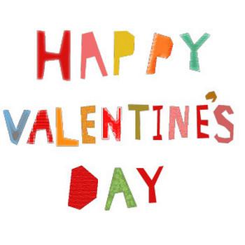 HAPPY VALENTINE'S DAYのコラージュ風文字イラスト <無料> | イラストK