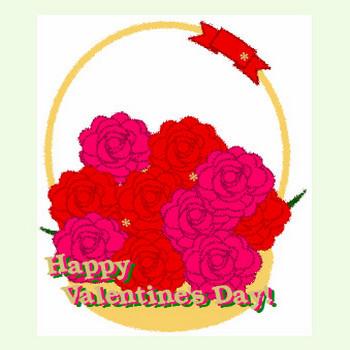 薔薇の花かごにバレンタインの文字入れイラスト♪ 毎日が、笑顔で元気♪/ウェブリブログ