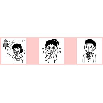 花粉症/春/無料イラスト【白黒イラスト素材】