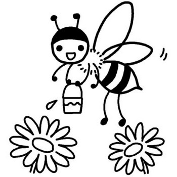 ミツバチ1/春の生き物/春/無料【白黒イラスト素材】
