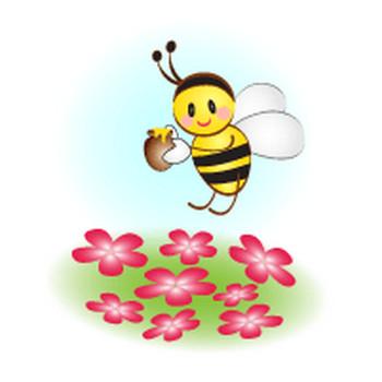 無料|WEB素材|イラスト|昆虫/花畑と蜜蜂