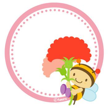 子供と動物のイラスト屋さん>カーネーションとみつばちのPOPカード(ピンク)   子供と動物のイラスト屋さん わたなべふみ