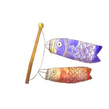 鯉のぼり紫赤のイラスト - 無料イラストのIMT 商用OK、加工OK