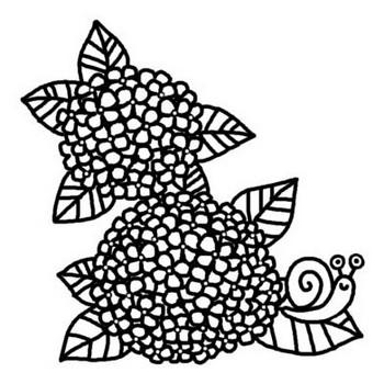 アジサイとかたつむり/梅雨/夏の季節/6月の行事/無料【白黒イラスト素材】