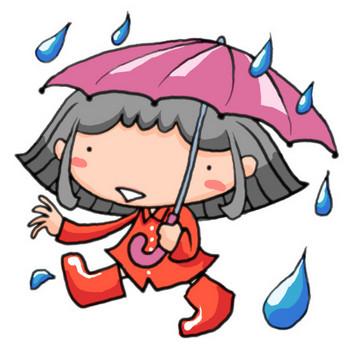 梅雨の時期、雨の中傘をさして赤い長靴とレインコートで楽しげに歩く女の子|かわいい無料イラスト素材(商用利用可)
