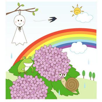 幼稚園児のイラスト・絵カード:梅雨(雨あがり)のイラスト・絵カード素材