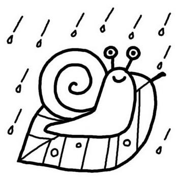 でんでん虫/梅雨/夏の季節/6月の行事/無料【白黒イラスト素材】
