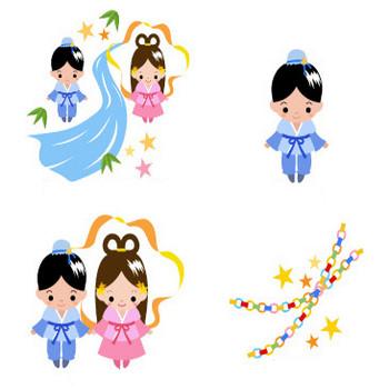 無料素材の『季節・行事素材のイラスト市場』夏素材・七夕・笹飾り・おりひめ・ひこぼしのイラスト