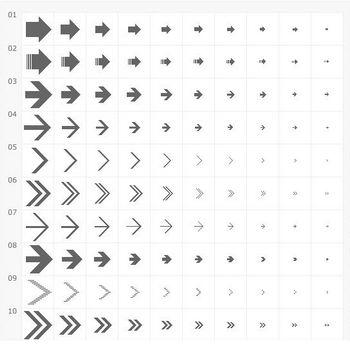 フリーデザイン素材「シンプル矢印アイコン25種×10サイズ」 (PIXEL LAB)