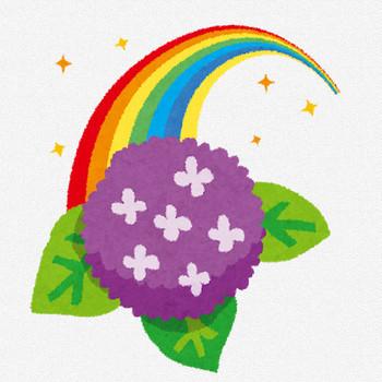 梅雨のイラスト「虹とあじさい」   かわいいフリー素材集 いらすとや