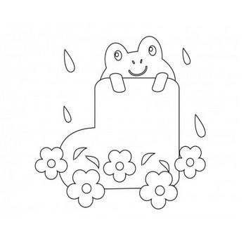 ぬりえ素材・カエルと長靴・梅雨 | イラスト無料・かわいいテンプレート
