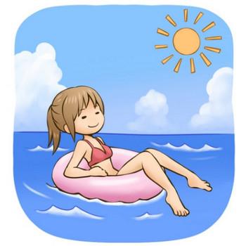 海水浴を楽しんでいる女性のイラスト - 無料イラストのIMT 商用OK、加工OK