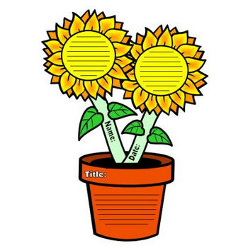 Large Sunflower Writing Templates: Flower Shaped Creative Writing Project and Activity